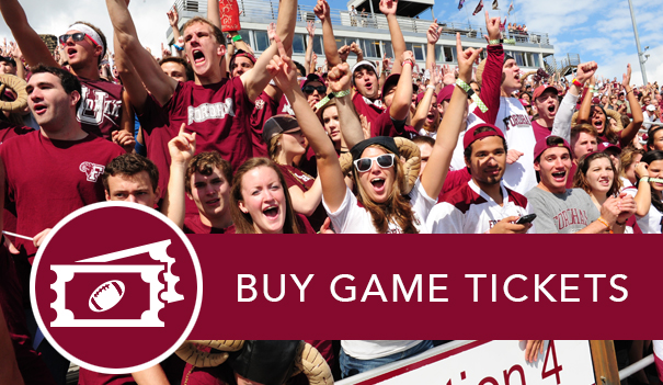Rowdy Ram fans in the bleachers on Jack Coffey field and the link to buy Fordham Football game tickets.