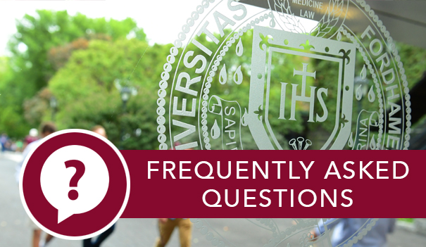 The Fordham University seal and the link to Homecoming FAQ.