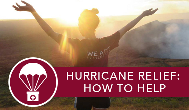 A sun setting between two mountains and an alumnae in a Fordham t-shirt raising her arms and the link to learn more about how to help Hurricane Maria victims at Homecoming.
