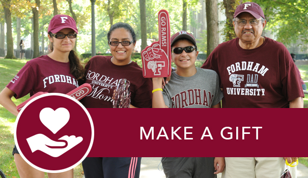 A family of four decked out in maroon Fordham gear and the link to make a gift to Fordham.
