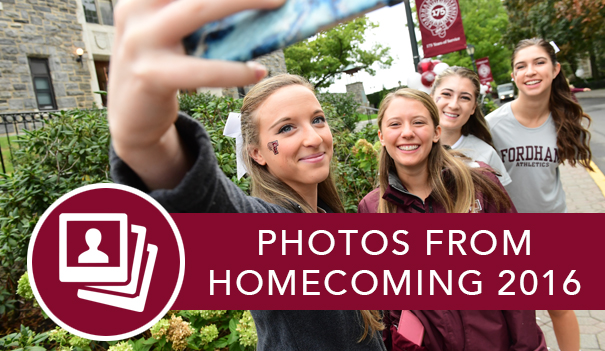 A group of Fordham cheerleaders taking a selfie at the Ram Run and the link to see photos of Homecoming from last year.