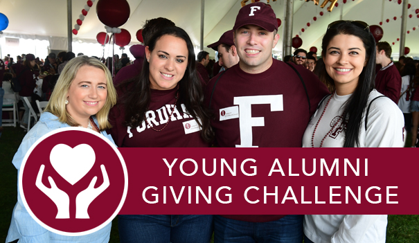 Four young alumni in the Homecoming Tent and the link to the Young Alumni Homecoming Giving Challenge.