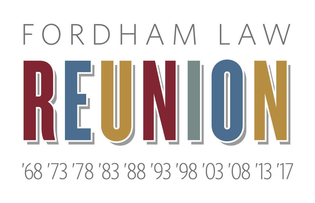 Fordham Law Reunion logo with reunion years beneath in a rainbow of colors.