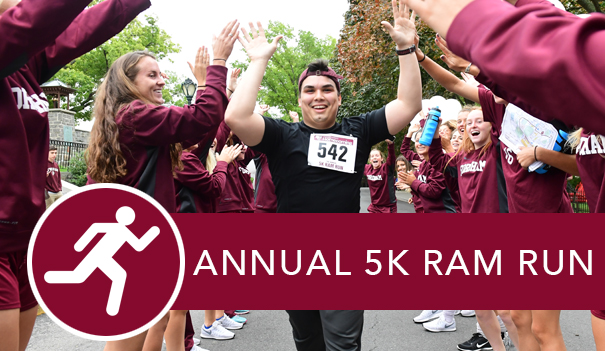 A student running through high-fives during the Ram Run and the link to 5K Ram Run homepage.