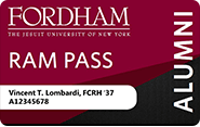 A sample maroon Fordham Ram Pass with Vincent Lombardi's name and pseudo FIDN.
